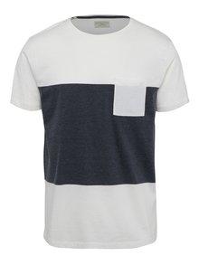 Šedo-krémové triko s náprsní kapsou Selected Homme Peter