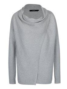 Světle šedý svetr s asymetrickým zapínáním VERO MODA Anna