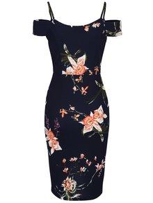 Tmavomodré kvetované šaty s odhalenými ramenami AX Paris