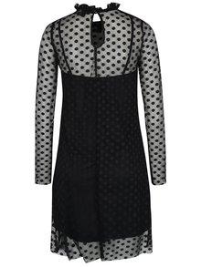 Čierne bodkované sieťované šaty s dlhým rukávom AX Paris