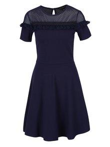 Tmavomodré šaty s priesvitným sedlom Dorothy Perkins