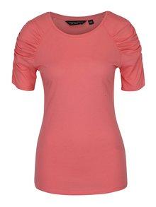 Tricou roz cu mâneci cu falduri Dorothy Perkins