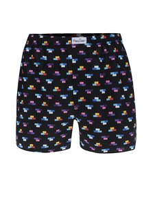 Boxeri negri cu model multicolor din bumbac Happy Socks Brick Boxer