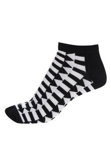Čierno-biele pánske členkové ponožky so šípkami Happy Socks Direction
