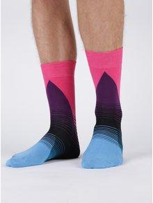 Růžovo-modré pánské vzorované ponožky Happy Socks 80's Fade
