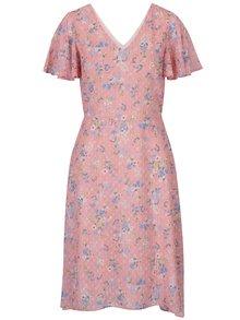 Rochie roz cu model floral și mâneci scurte Dorothy Perkins
