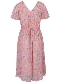 Ružové kvetované šaty s krátkym rukávom Dorothy Perkins
