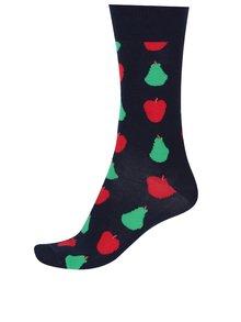 Tmavomodré ponožky s hruškami a jablkami Happy Socks Fruit