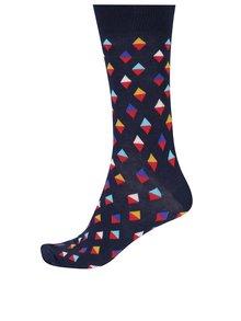 Tmavomodré pánske ponožky s trojuholníkmi Happy Socks Mini Diamond