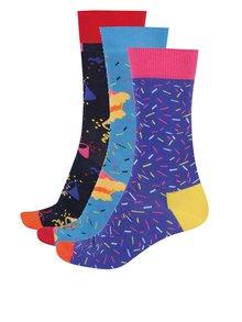 Súprava troch párov pánskych vzorovaných ponožiek Happy Socks Birthday