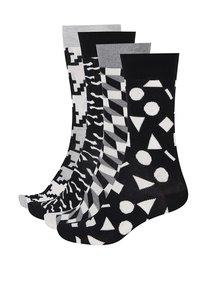 Súprava štyroch párov čierno-bielych pánskych vzorovaných ponožiek Happy Socks Black&White