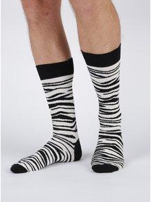 Șosete alb & negru zebra Happy Socks Zebra