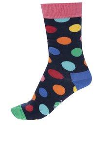 Tmavomodré dámske bodkované ponožky Happy Socks Big Dot