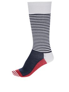 Bielo-modré dámske pruhované kompresné podkolienky Happy Socks Compression Half Stripe