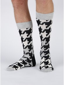 Șosete negru & alb cu model Happy Socks Dogtooth