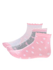 Súprava troch párov ružových dievčenských vzorovaných ponožiek 5.10.15.