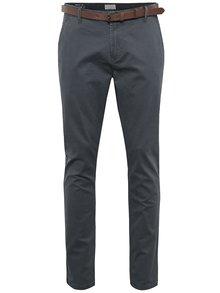 Pantaloni chino gri deschis cu centură maro - ONLY & SONS Tarp