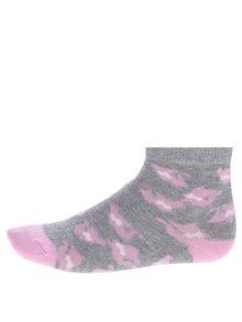 Súprava troch párov dievčenských vzorovaných ponožiek v sivej a ružovej farbe 5.10.15.