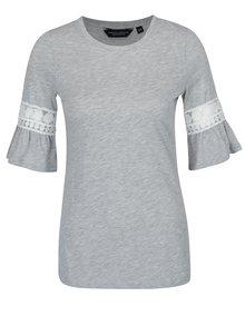 Sivé tričko s čipkou na rukáve Dorothy Perkins
