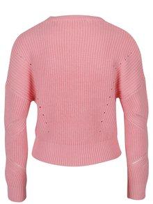 Ružový rebrovaný crop sveter Miss Selfridge
