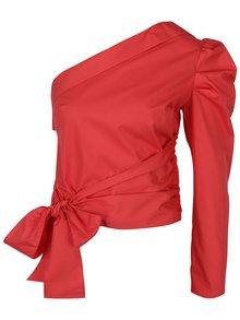 Bluză roșie cu decolteu pe un umăr - Miss Selfridge