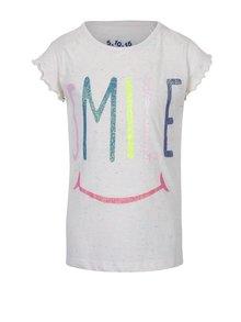 Krémové holčičí tričko s krátkým rukávem a potiskem 5.10.15.