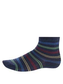Súprava troch párov sivo-modrých chlapčenských ponožiek s pruhmi a autami 5.10.15.