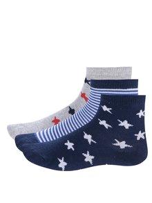Sada tří párů bílo-modrých klučičích vzorovaných ponožek 5.10.15.