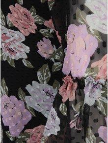 Černé květované šaty s volány na rukávech Miss Selfridge