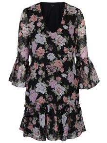 Čierne kvetované šaty s volánmi na rukávoch Miss Selfridge