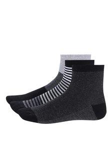 Sada tří párů černo-šedých klučičích pruhovaných ponožek 5.10.15.