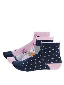 Súprava troch párov modro-ružových dievčenských ponožiek s motívom sovy 5.10.15.