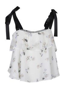 Crop top cu volane si imprimeu floral - Miss Selfridge