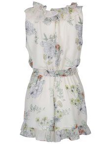 Krémový kvetovaný overal s volánmi Miss Selfridge