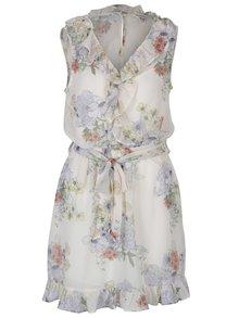 Krémové kvetované šaty s volánmi Miss Selfridge