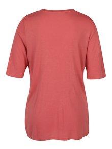 Cihlové tričko s volánem VERO MODA Jemia