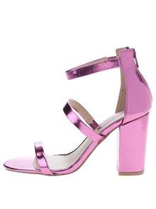 Růžové lesklé sandálky na širokém podpatku Dorothy Perkins