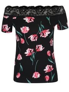 Čierne kvetinové tričko s odhalenými ramenami Dorothy Perkins