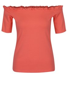 Korálové tričko s odhalenými rameny Dorothy Perkins