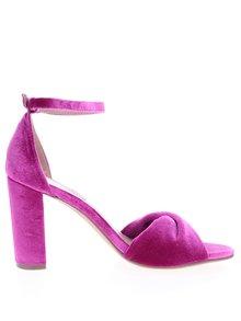 Růžové sametové sandálky na podpatku Dorothy Perkins