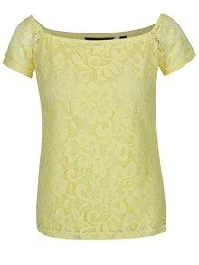 Žlté čipkované tričko Dorothy Perkins