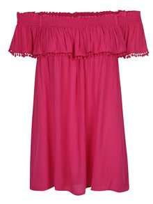 Bluză roz închis cu volănaș și decolteu pe umeri Dorothy Perkins Curve