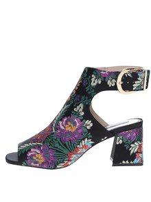 Čierne kvetované členkové topánky Miss Selfridge