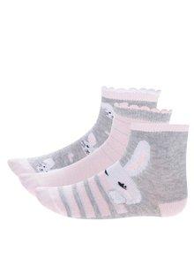 Súprava troch párov sivo-ružových dievčenských ponožiek s motívom králika 5.10.15.