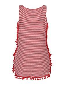 Bielo-červené pruhované tielko so strapcami Pretty Girl