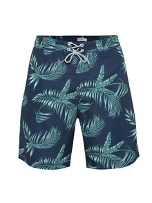 Bermude bleumarin de baie cu model tropical verde Burton Menswear London