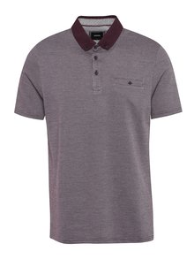 Tricou polo vișiniu&crem cu model discret Burton Menswear London