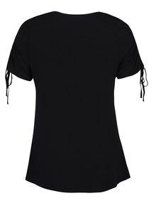 Čierne tričko s nazberkaním na rukávoch Dorothy Perkins Curve