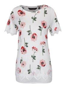 Tricou crem cu aplicații din macrame și model floral Dorothy Perkins