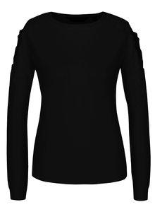 Čierny sveter s prestrihmi na ramenách a čipkovými detailmi Dorothy Perkins